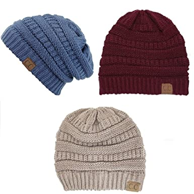 ee7fc5c1e8a Image Unavailable. Image not available for. Color  Trendy Warm Chunky Soft  Stretch Cable Knit Slouchy Beanie ...