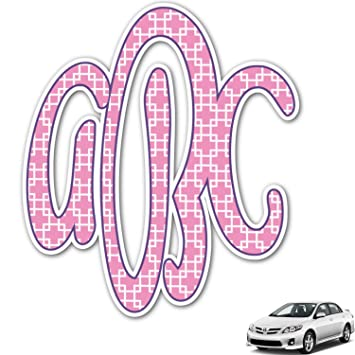 Amazoncom Linked Squares Monogram Car Decal Personalized - Monogram car decal amazon