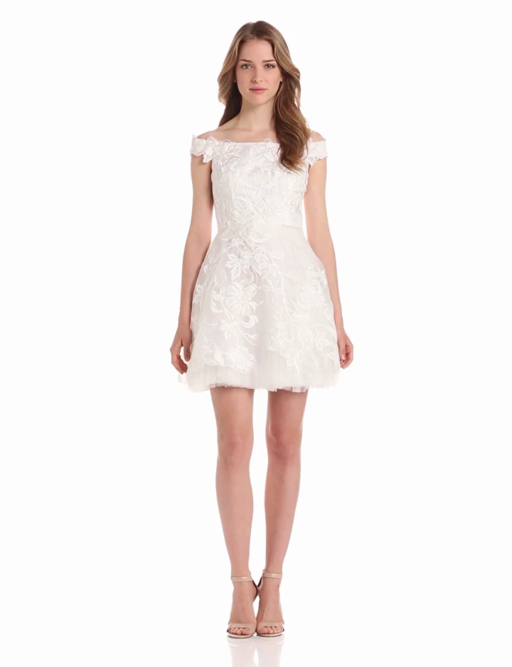 Adrianna Papell Womens Embroidered Organza Off Shoulder Dress
