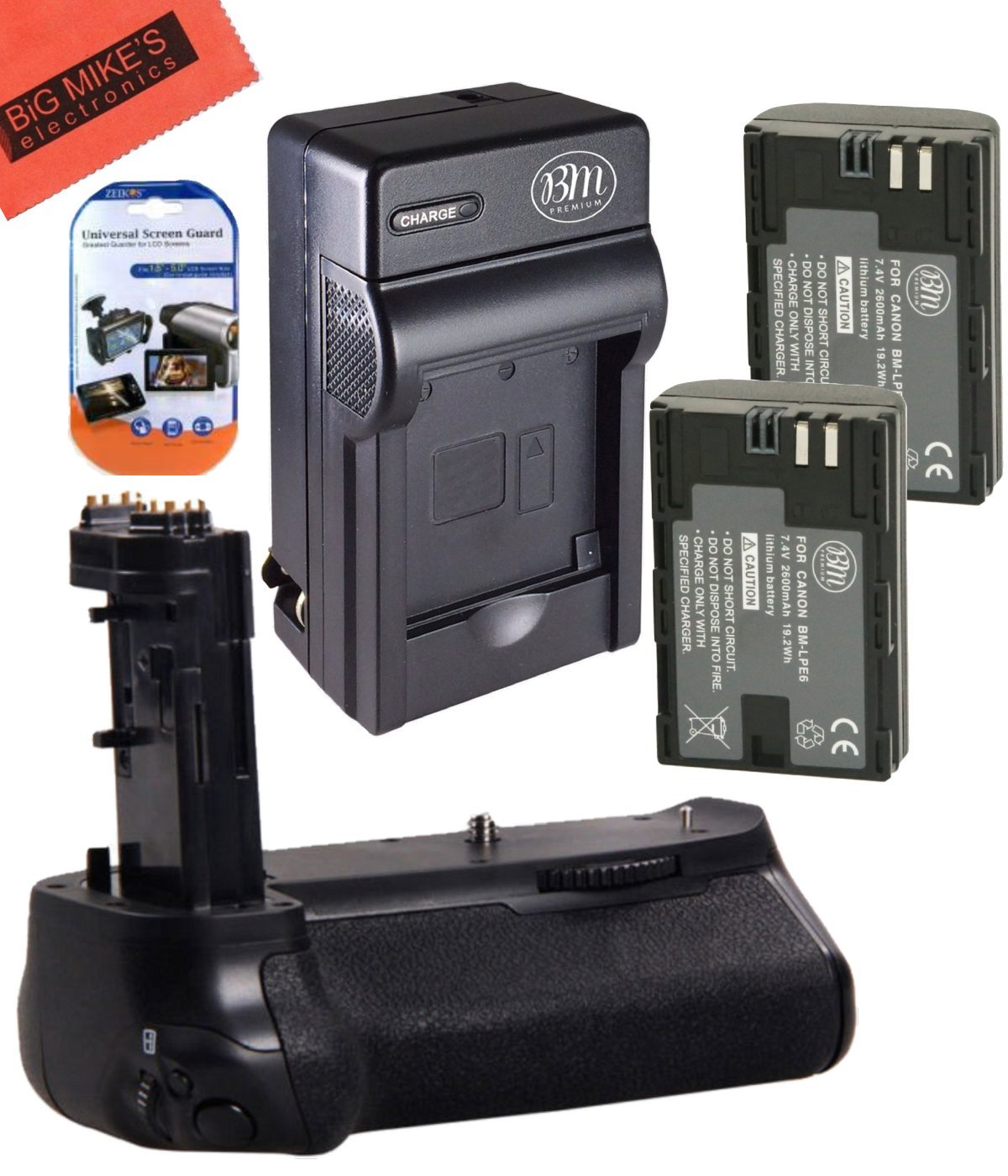 Battery Grip Kit for Canon EOS 7D Mark II Digital SLR Camera Includes Qty 2 BM Premium LP-E6, LP-E6N Batteries + Battery Charger + Replacement BG-E16 Battery Grip by Big Mike's