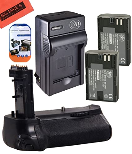 Battery Grip Kit for Canon EOS 7D Mark II Digital SLR Camera Includes Qty 2  BM Premium LP-E6, LP-E6N Batteries + Battery Charger + Replacement BG-E16