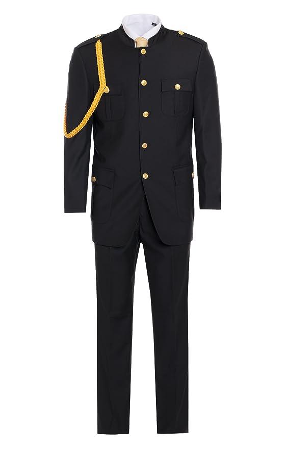 Amazon.com: Hombre Premium Negro Cadet Militar Uniforme ...