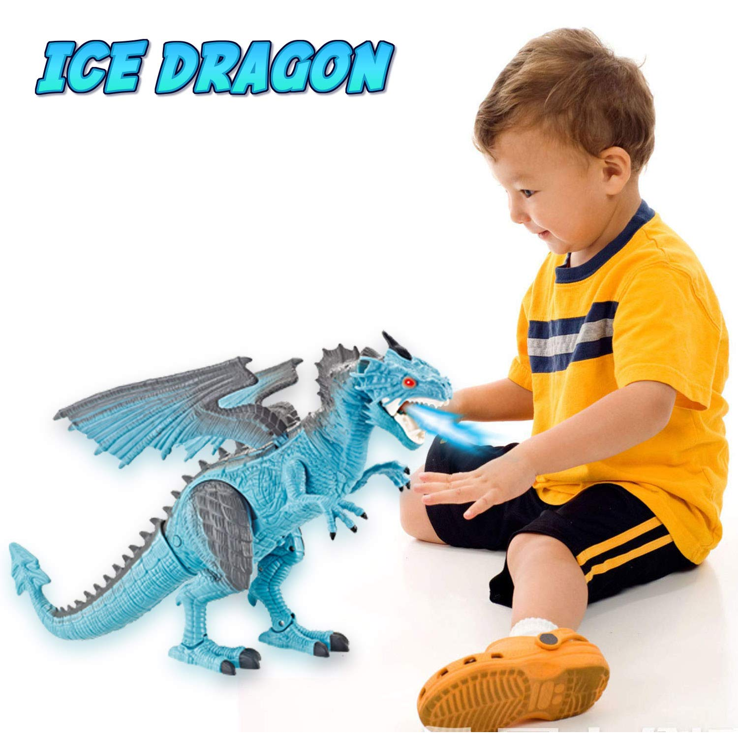Liberty Imports Dino Planet Remote Control RC Walking Dinosaur Toy with Breathing Smoke, Shaking Head, Light Up Eyes and Sounds (Ice Dragon (with Smoke)) by Liberty Imports (Image #6)