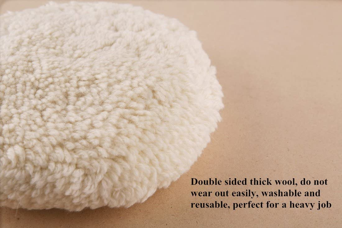 OKAYDA Wool Polishing Pad 7 Hook and Loop High Density Buffing Cutting Pads for Automobile Motorcycle Washing Machine Refrigerator Furniture Cabinets etc 7 Double Sided