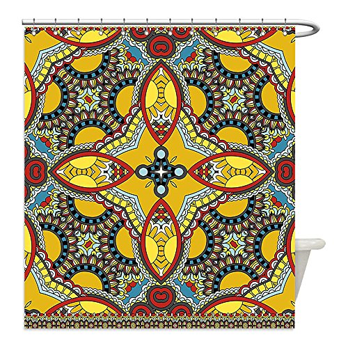 Costumes Of Different Indian States (Liguo88 Custom Waterproof Bathroom Shower Curtain Polyester Oriental Middle Orient Eastern Indian Islamic Different Floral Swirl Detailed Image Artwork Multicolor Decorative bathroom)