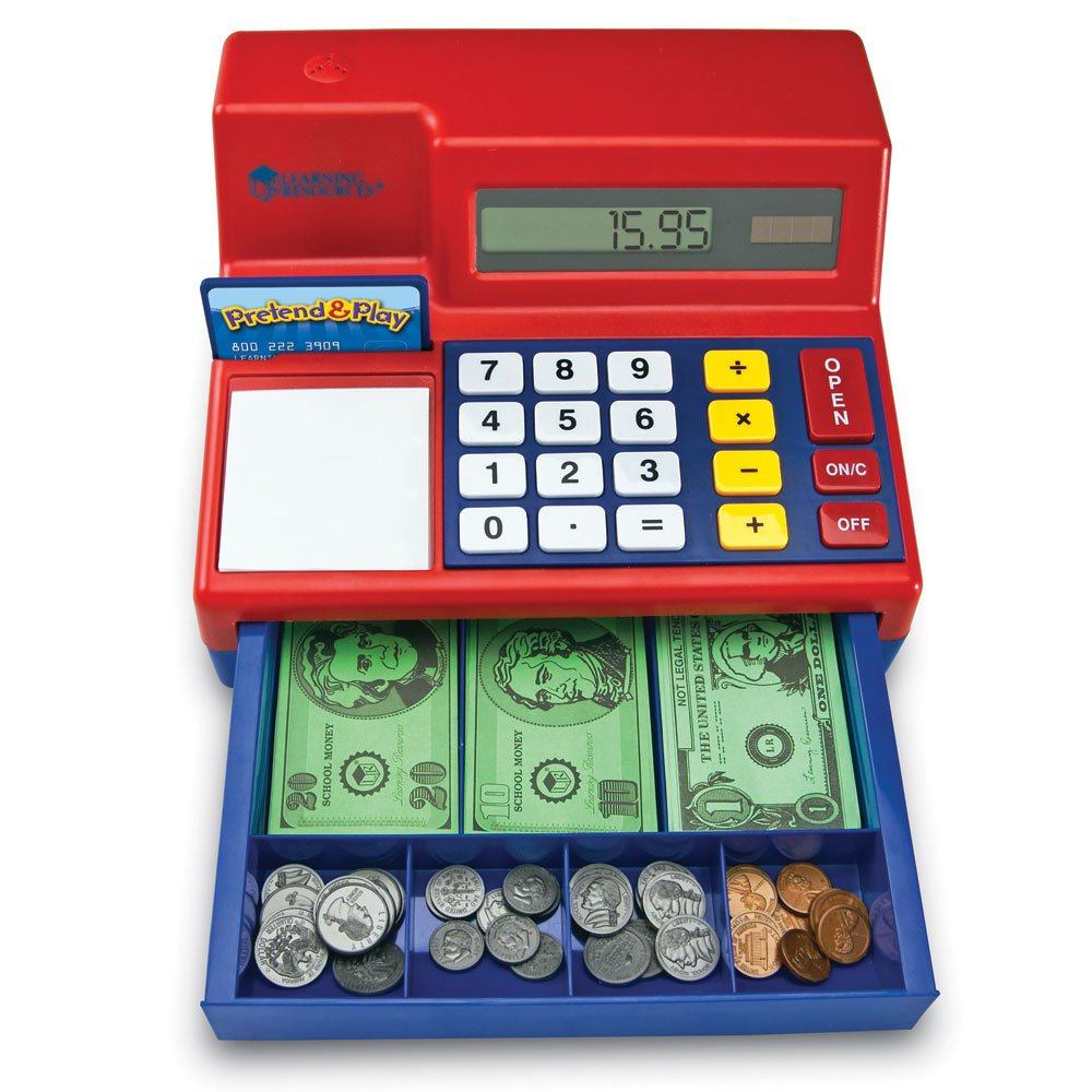 Learning resources pretend and play calculator cash register, pink.