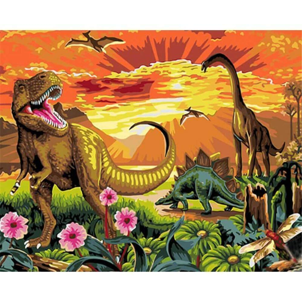 Paint by Numbers Kits DIY Oil Painting Home Decor Wall Value Gift- Dinosaur World 16X20 Inch (Frame) by MONDART