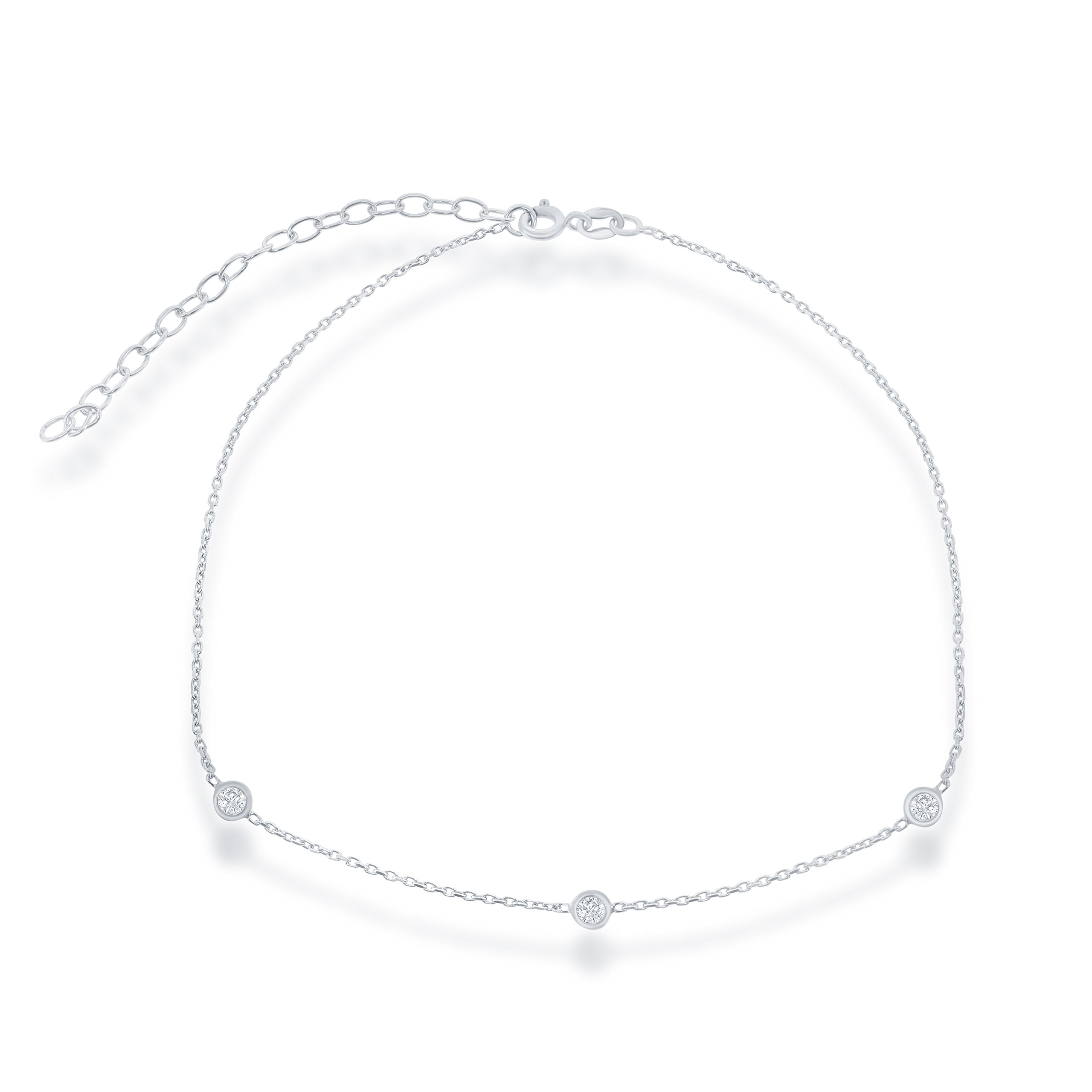 Beaux Bijoux Sterling Silver 12'' + 3'' CZ Station by the Yard Choker Necklace