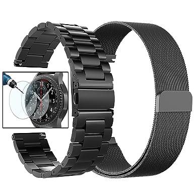 Gear S3 Frontier / Bandas clásicas – Valkit, Correa de reloj de repuesto de 22