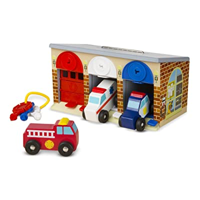 Melissa & Doug Lock and Roll Rescue Garage - 3 Wooden Vehicles, Garage With Locking Door and Keys: Melissa & Doug: Toys & Games