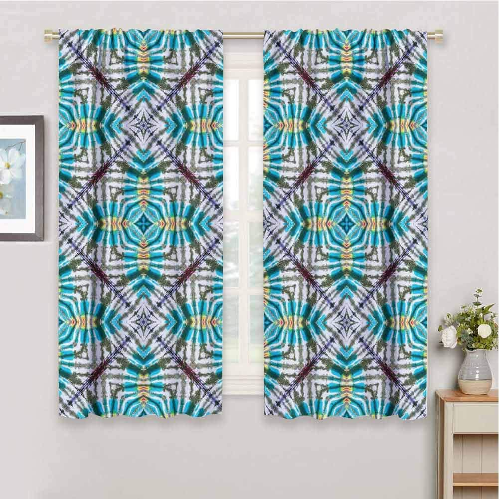 Tie Dye Dark Out Double Layer Curtains for Kids Bedroom, Double Exposure of Various Figures with Spectral Radiant Tint Blushes Illustration Dark Out Waverly Curtain (Multicolor, 84 x 72 Inch ) by June Gissing