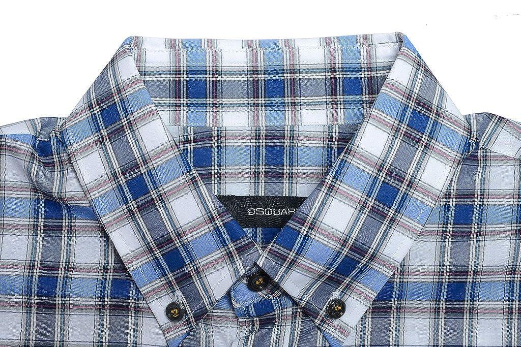 Dsquared2 Mens Multi-Color Plaid Button Down Casual Shirt