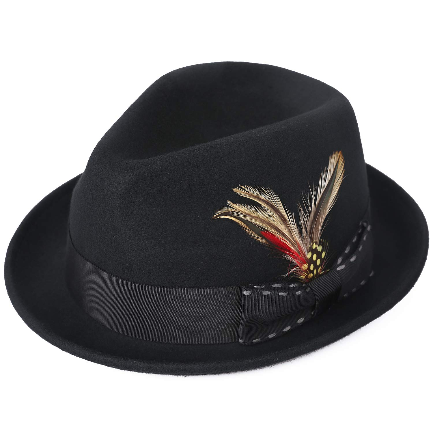 0f498898db1f4 Janetshats Unisex Classic Fedora Hats Wool Felt Trilby Hat with Bowknot  Feather Black  Amazon.ca  Clothing   Accessories