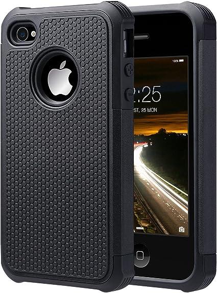 ULAK Coque iPhone 4S, iPhone 4 Coque Housse de Protection Anti-Choc Matériaux Hybrides en Silicone Souple et PC Dur pour Apple iPhone 4 4S(Noir)