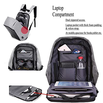 33afec82337ce9 Amazon.com  Anti-theft backpack USB port backpack Laptop Backpack (Black)   Computers   Accessories