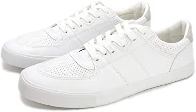 PepStep White Leather Sneakers for Men,White Casual Shoes for Men, Low Top Lace Up Sneakers with Soft Arch Support/Breathable PU Synthetic Leather Upper