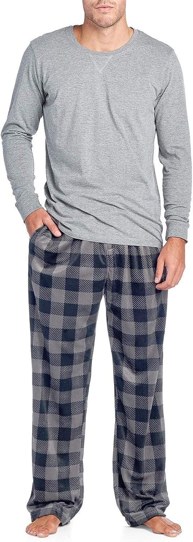 Ashford & Brooks Men's Jersey Knit Long-Sleeve Top and Mink Fleece Bottom Pajama Set