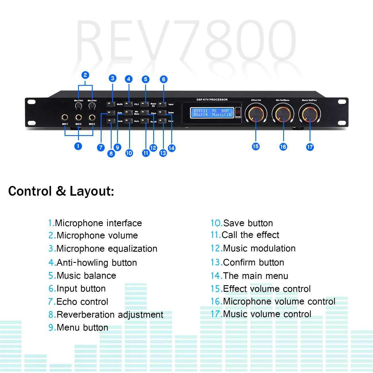 Depusheng REV7800 Karaoke Professional Digital Audio Processor Can Set Via A PC Interface Prevent Howling