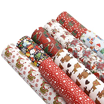 Christmas Sheets.David Accessories Christmas Gifts Pattern Printed Faux Leather Sheets Fabric Canvas Back 9pcs 8 X 13 20cm X 34cm For Making Bags Crafting Diy