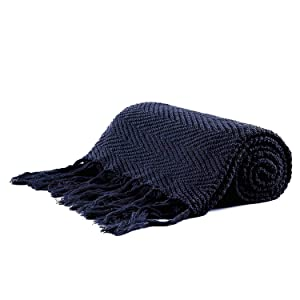 Longhui bedding Fringe Knit Cotton Throw Blanket, 60 x 80 Inches Decorative Knitted Cover with 6 Inch Tassels, Bonus Laundry Bag – 4.8lb Weight, Bed Blankets, Navy Blue
