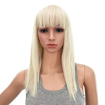 Amazon Com Swacc 14 Inches Short Straight Medium Shoulder Length Wig With Blunt Cut Bangs And Bottom End Synthetic Heat Resistant Hair Wigs For Women With Wig Cap Platinum Blonde Beauty