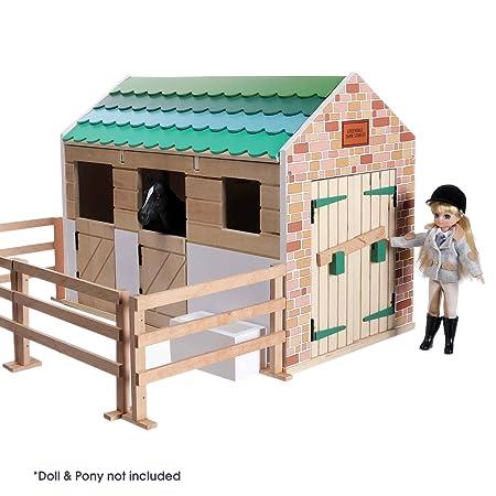 Mobel Aus Furnierholz In Frohlichen Farben | Lottie Puppenhaus Stall Lt0742 Mit Echtem Holz Und