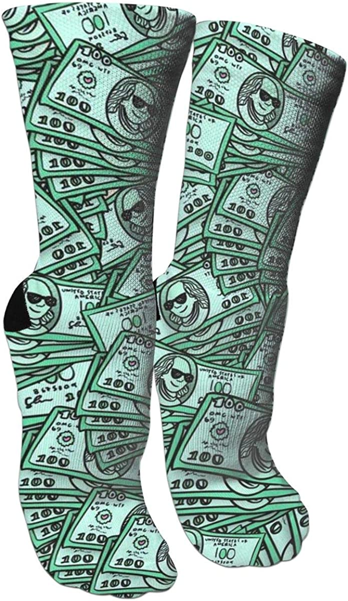 Funny Dollars Art Painting Casual Cotton Crew Socks Cute Funny Sock,great For Sports And Hiking