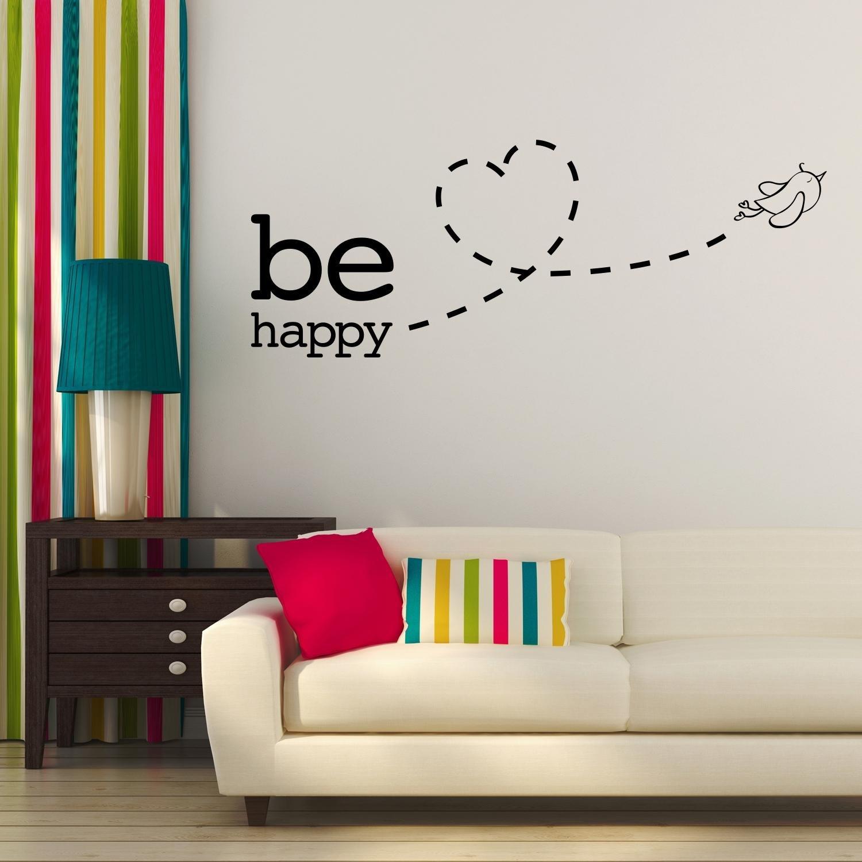 Adesiviamo® - Adesivo da muro, con scritta in inglese Be Happy, con uccellino, motivo: amore, Black, small
