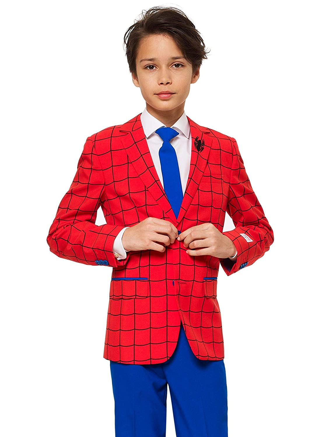 Opposuits Crazy Suits for Boys in Different Prints – Comes with Jacket, Pants and Tie In Funny Designs Spider-man