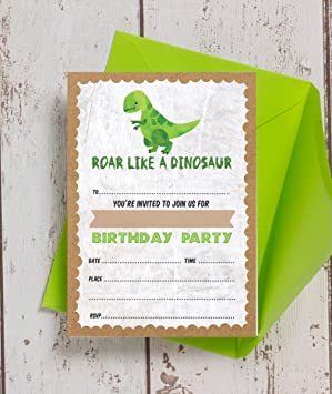 Pack Of 10 Dinosaur Themed Birthday Party Invitations Amazon Co Uk