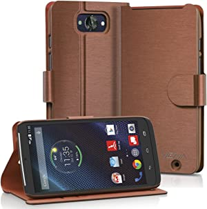 VENA Motorola Droid Turbo Wallet Case [vSuit] Slim Fit Leather Case with Stand and Card Slots for Motorola Droid Turbo (Metallic Black/Red Version Only) (Brown)