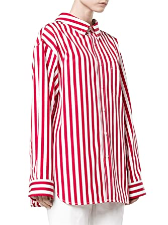 d30f2b85 Women's Vertical Stripes Button Down Long Sleeves Cotton Shirt - Red/White/S