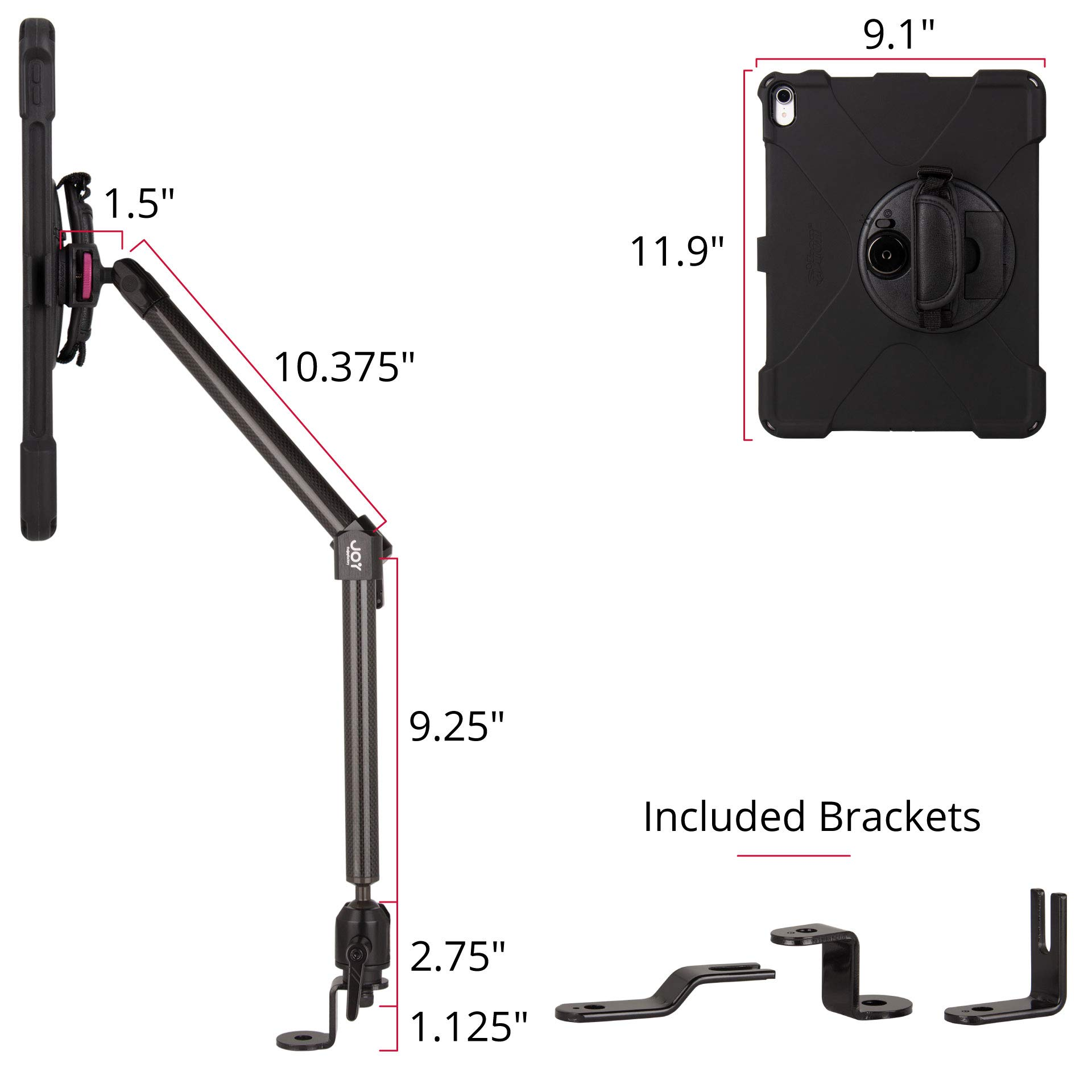 The Joy Factory MagConnect Carbon Fiber Car/Truck Seat Bolt Mount w/aXtion Bold MP Water-Resistant Rugged Shockproof Case iPad Pro 12.9'' [3rd Gen], Built-in Screen Protector, Hand Strap (MWA4105MP) by The Joy Factory (Image #6)