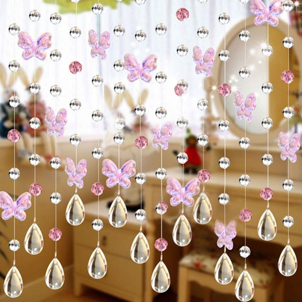 osierr6 Crystal Beads Butterfly Curtain Strands, Chandelier Chain, Beads String Roll For DIY Wedding Christmas Decor Ornaments(transparent)(pink) 4337027861