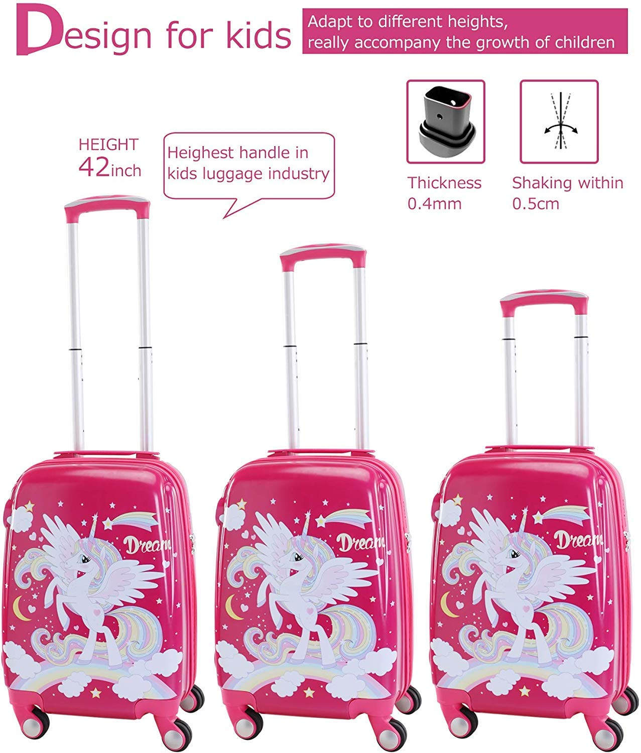 Lttxin Kids suitcase 19 inch Polycarbonate Carry On Luggage Lovely Hard Shell upgrade perfect printing unicorn