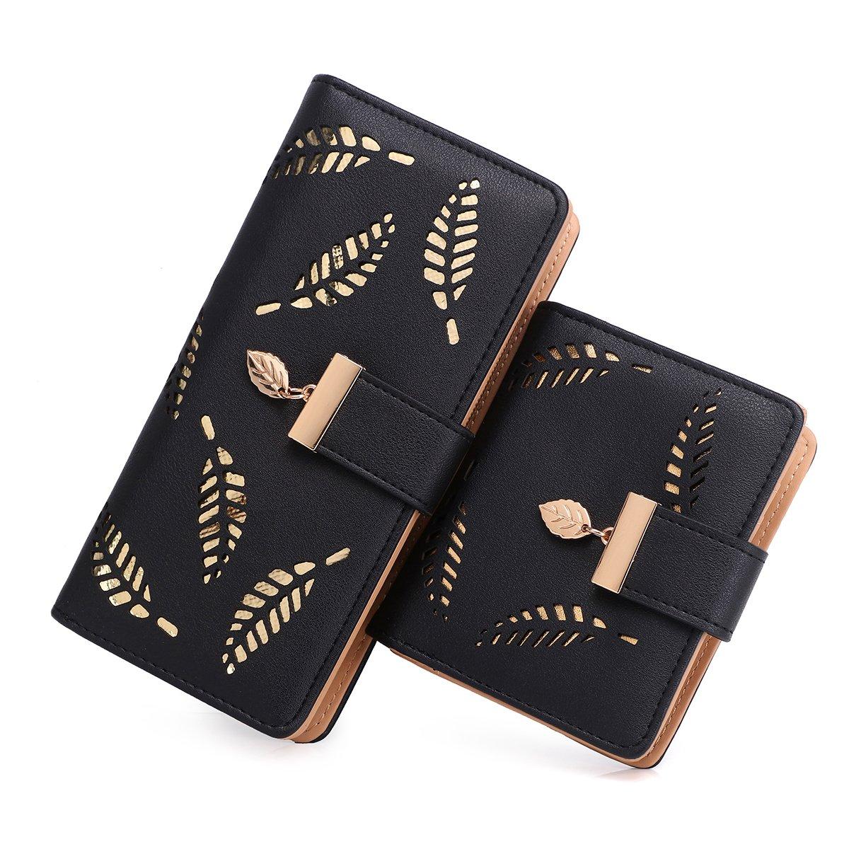 Women's Long short Leather Money Clip Card Case Holder Purse Zipper Buckle Elegant Clutch Wallet(pair) (Black)