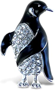 Puzzled Penguin Refrigerator Sparkling Magnets with Crystals, 5, Black, silver