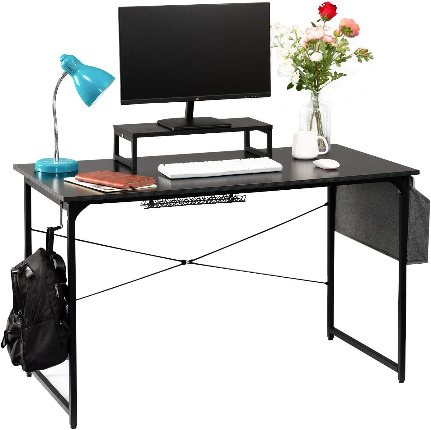 GAJOO Computer Desk Work Home Office Desk Writing Study Desk 47inch,Modern Simple Student School Study Desk with Monitor Stand Storage Bag and Plug-in Row Storage for Home Office,Black