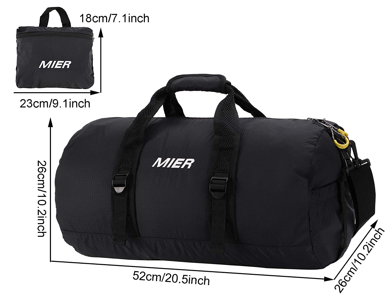 72e0d7bfc MIER Foldable Small Duffel Bag Lightweight for Sports, Gyms, Yoga, Travel,  Black larger image