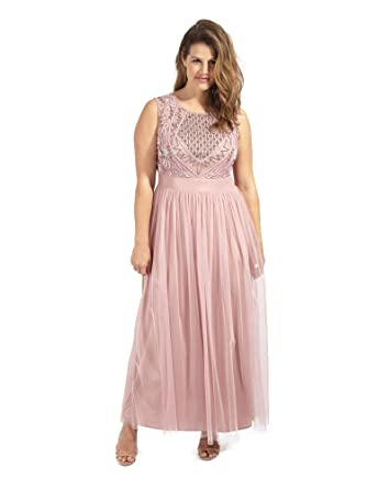 c52de35b1f Lovedrobe Luxe Women's Plus Size Sequin Embellished Sleeveless Maxi Tulle  Dress in Pink ...