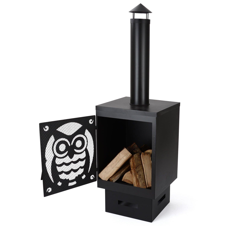 Buho 146cm Garden Chiminea Firepit Black Steel Outdoor Firepit Patio Heater Christow