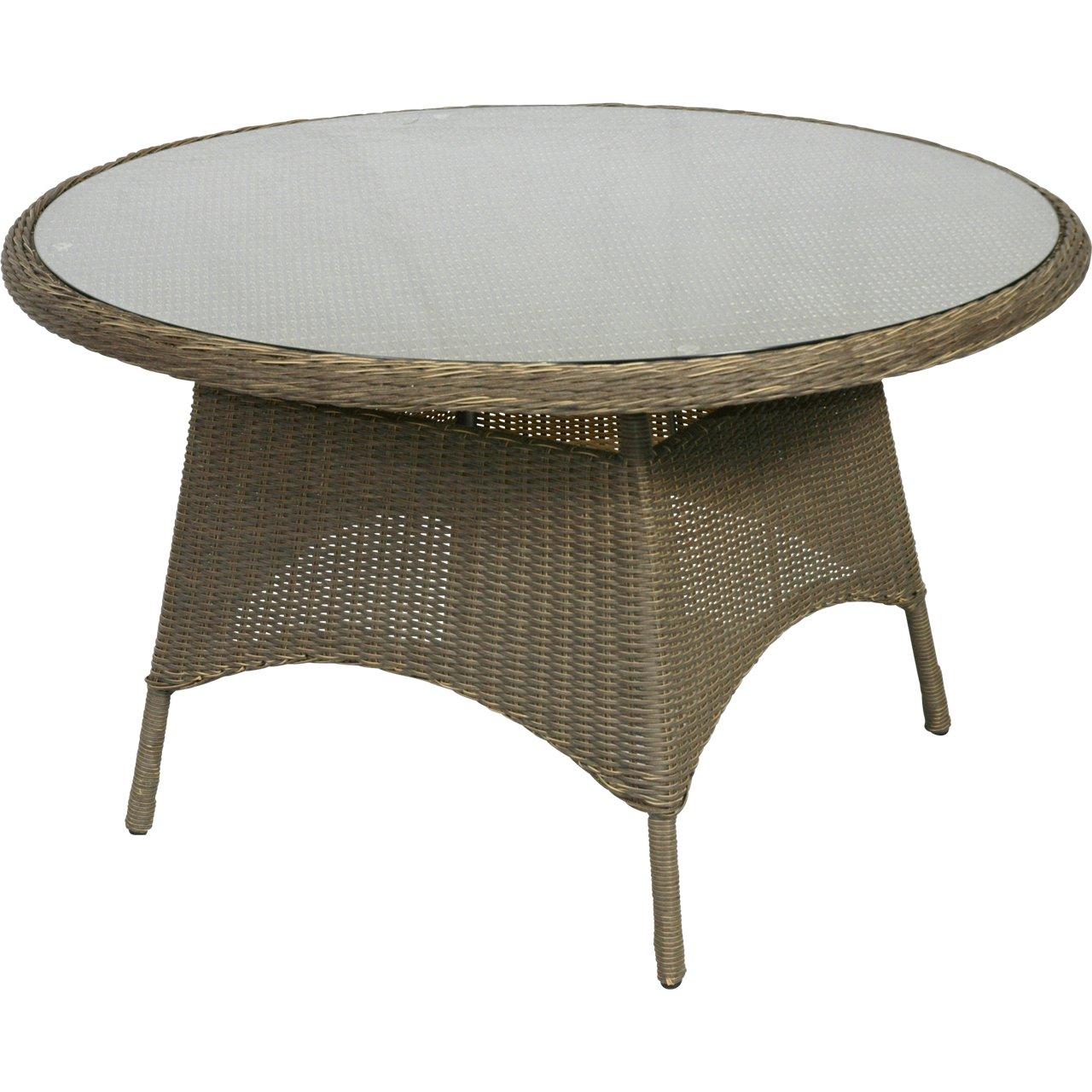 Gartentisch Alu-Gestell mit honigfarbenem Geflecht und Glasplatte ø125x76cm