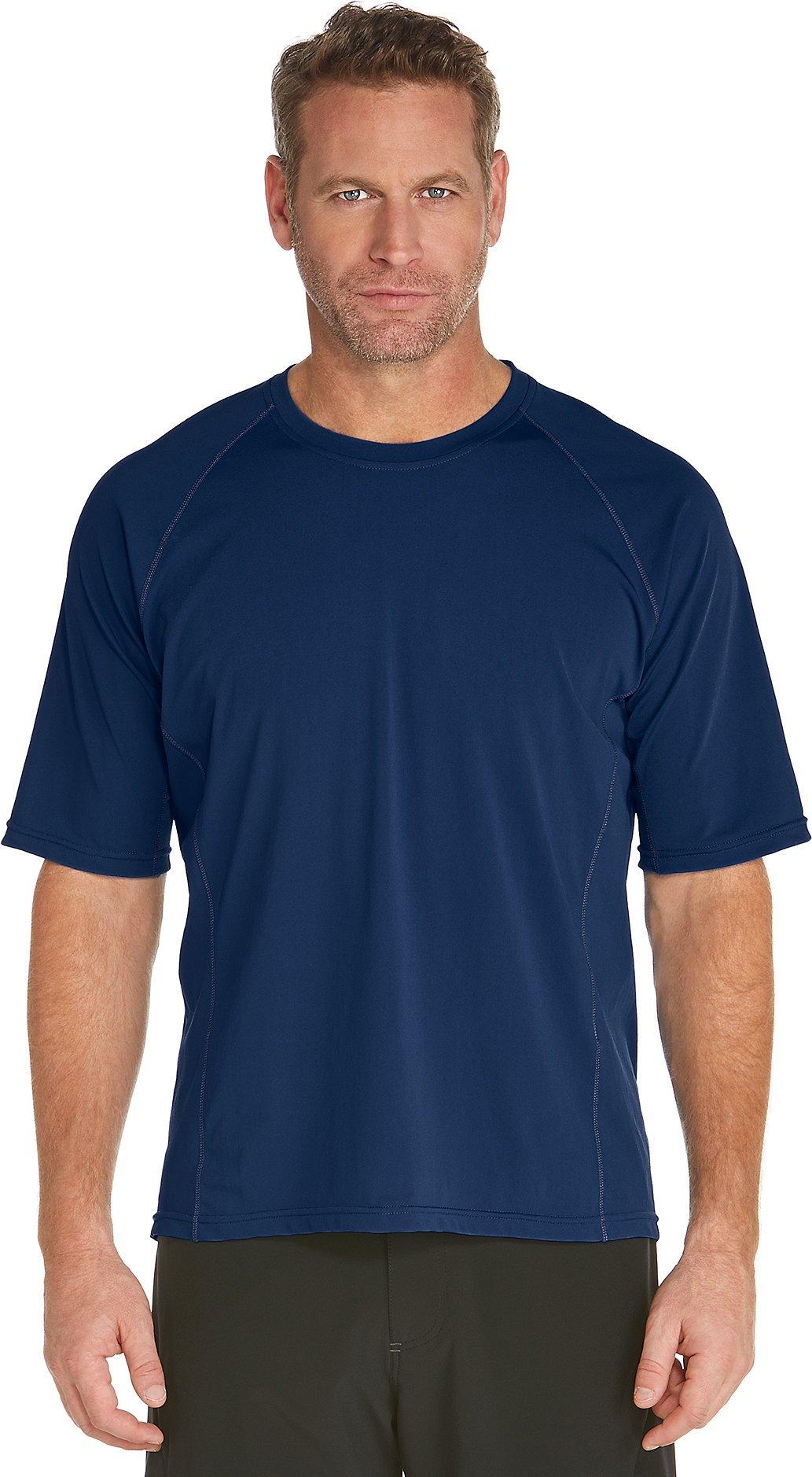 Coolibar UPF 50+ Men's Short Sleeve High Tide Swim Shirt - Sun Protective (X-Large- Navy)