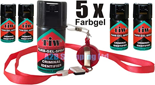 Gel Farb Farbgel tinte rojo defensa personal 100% aerosol de seguridad de emergencia en caso de ataques legal Reino Unido (5): Amazon.es: Jardín