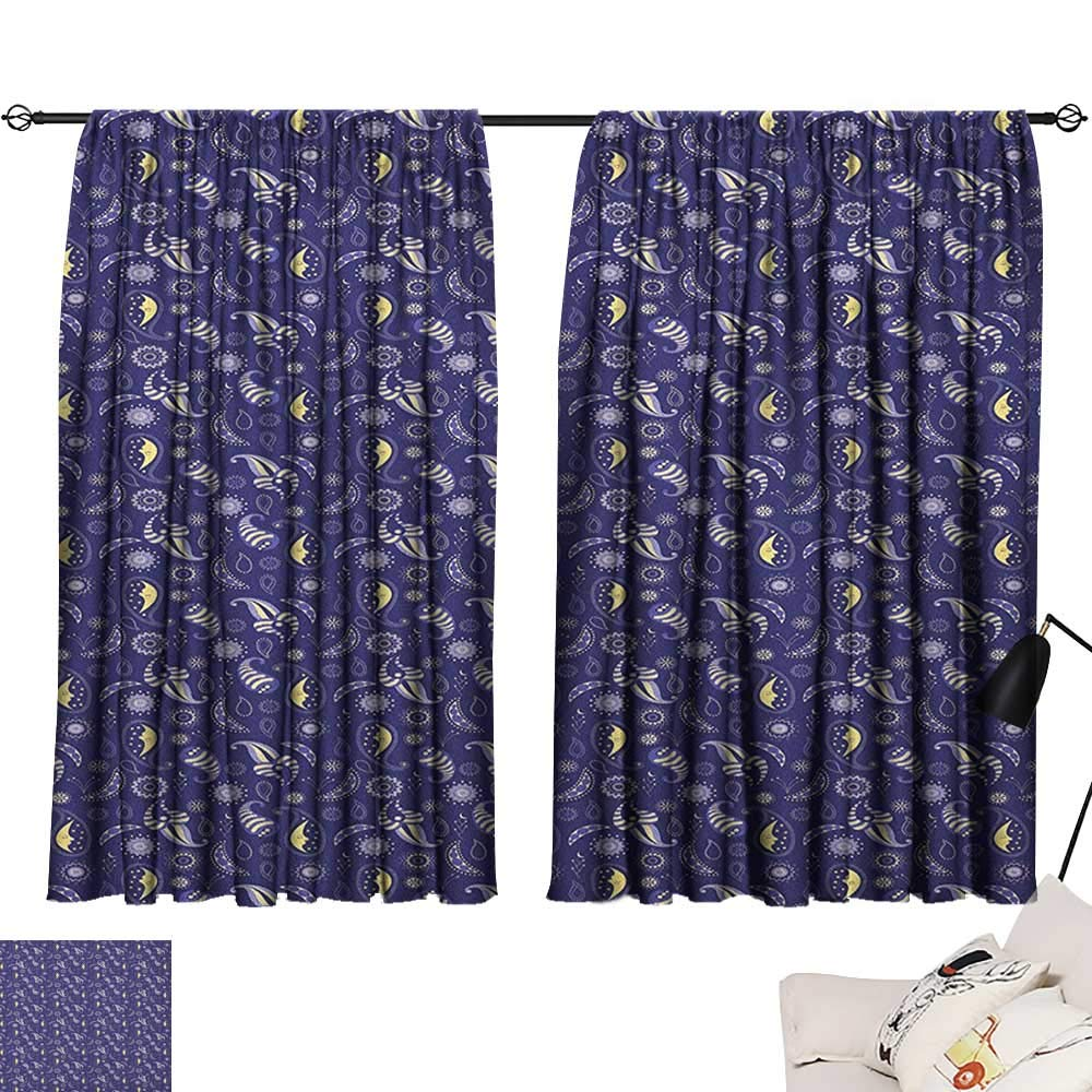 Pattern12 W96  x L72  Beihai1Sun Moon décor Darkening Curtains Cartoon Style Moons and Stars Hanging from Clouds Kids Boys Design Sky Pattern Curtain for Kids Room Pale bluee Yellow W63 x L45