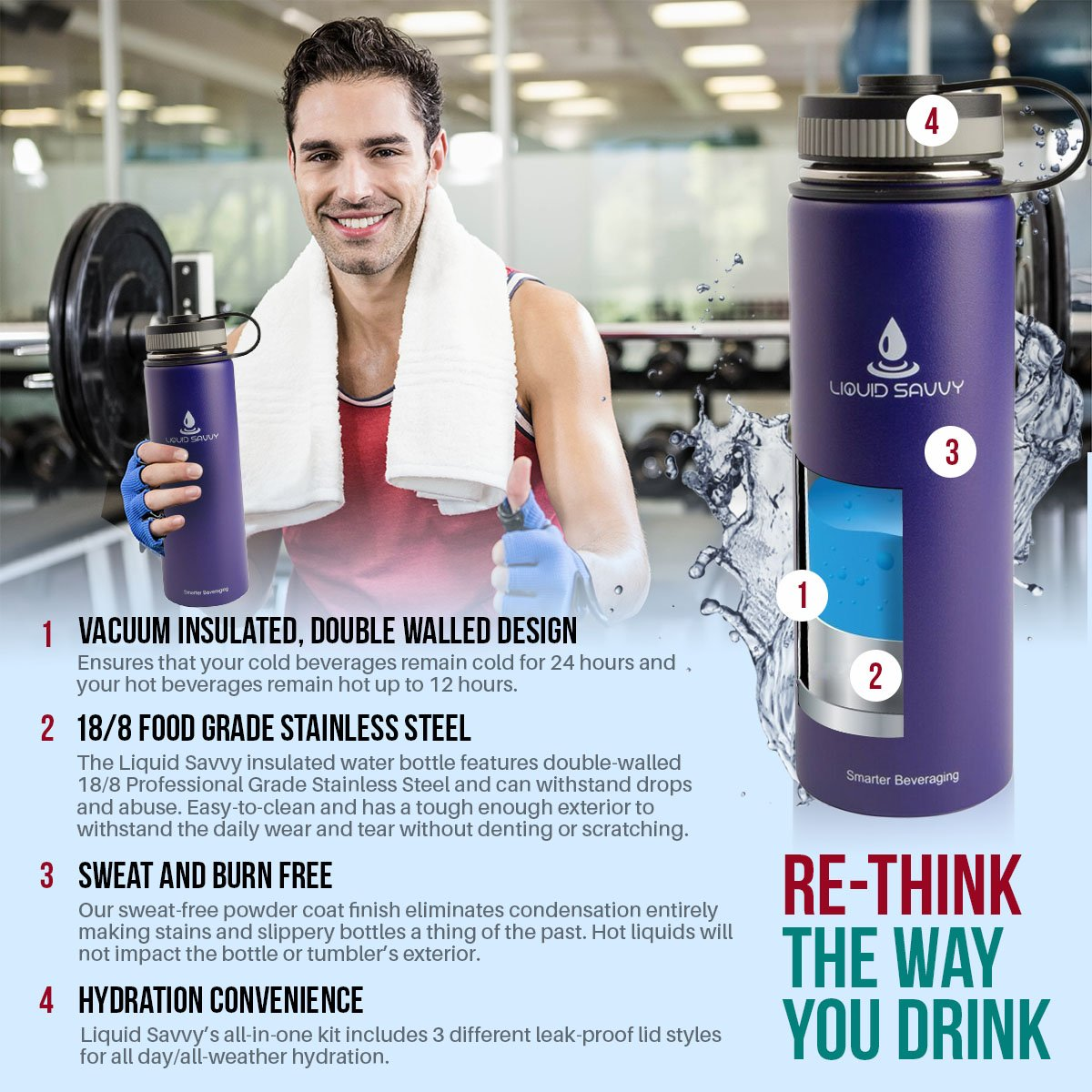 Liquid Savvy 24oz Insulated Water Bottle with 3 lids - Stainless Steel, Wide Mouth Double Walled Vacuum Insulated Bottle for Hot and Cold Beverages (Gray) by Liquid Savvy (Image #4)