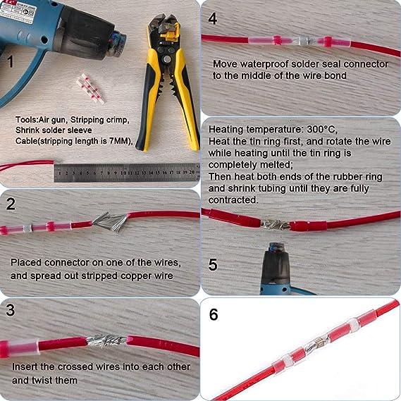 300X 3:1 Waterproof Solder Sleeve Seal Heat Shrink Wire Butt Terminal Connectors