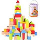 Pidoko Kids Wooden Building Blocks Set - 100 Pcs - Includes Carrying Container - Hardwood Plain & Colored Wood Block for…