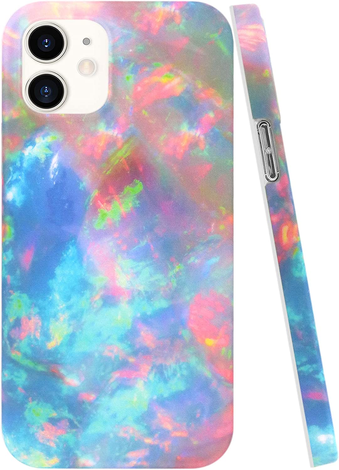 A-Focus Case Compatible with iPhone 12 and i Phone 12 Case Opal, Green Blue Opal Marble IMD Shock Proof Flexible TPU Rubber Cover Case for 12 Pro / 12 2020 Release 6.1 inch Matte Colorful