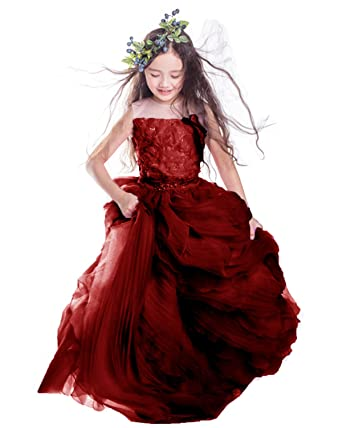 9314633f37a XSWPL Baby Princess Bridesmaid Flower Girl Dresses Appliques Prom Dress  with Detachable Train Burgundy US2
